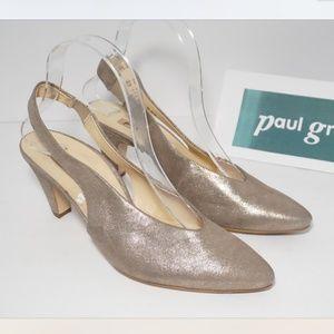 Paul Green Pointed Toe Slingback Heels Pumps Gold